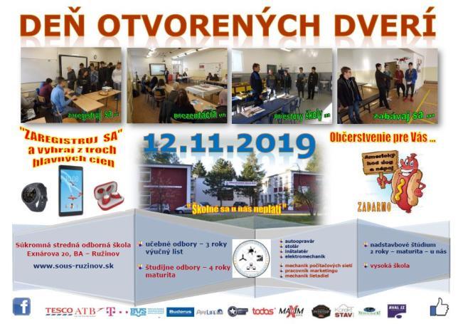 Deň otvorených dverí 12 novembra 2019 Súkromná SOŠ Exnárova 20, BA