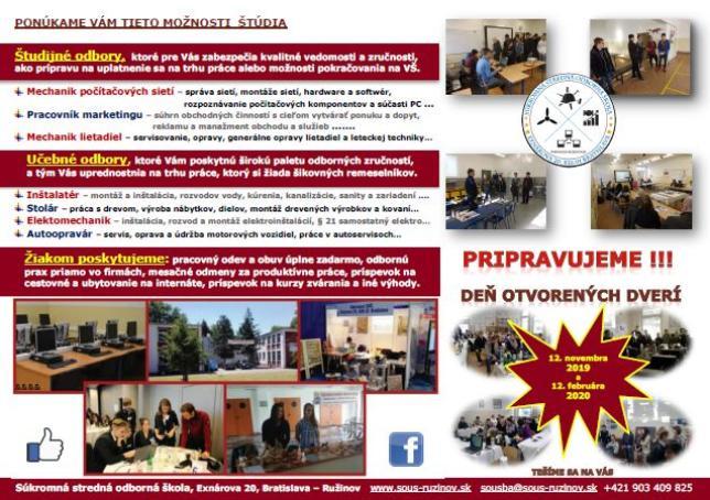 Ponuka odborov v kocke - SOŠ Exnárova 20 Bratislava - Ružinov